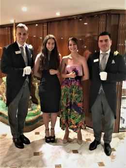 Claudia and Grace with butlers Paul and Ion on the SS Joie de Vivre , Barry F - December 2017