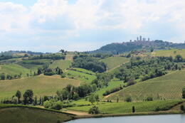 The view from our lunch table, with Sam Gimignano on the horizon , Antony I - June 2014