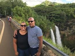 Enjoying the Wailua Falls view in the background , Kia L - September 2017