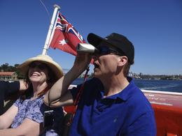 Mike and Barbara enjoying the sites on our Harbour Cruise. , Husker1k - February 2012