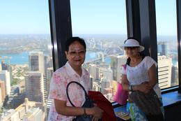 "My mother-in-law and my wife Bonett having a jolly time enjoying Sydney and its surroundings at Sydneys tallest building, the ""Sydney Tower"". , Pedro L - January 2013"