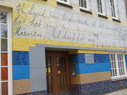 Anne's school, now graced with the image of her journal writing. , cayount - January 2017