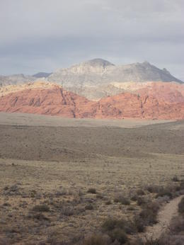 A look at the calico mountains acrossed the desert from the overlook. , CindySue - March 2013