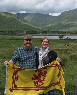 My husband and I outside Kilchurn Castle , Stephanie H - July 2016