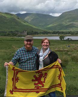 My husband and I outside Kilchurn Castle , Stephanie H - July 2016