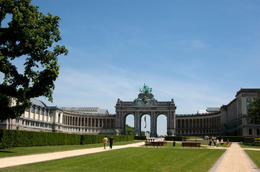 The triumphal arch and museums of Cinquantenaire Park in Brussels, Belgium - June 2011