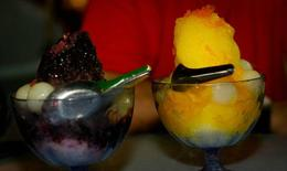 Shaved ice with fruit toppings - July 2012
