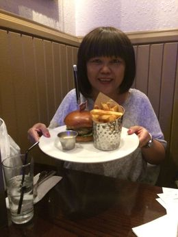 I am enjoying my dinner at Paris Hard Rock Cafe , Boi Kui C - June 2015