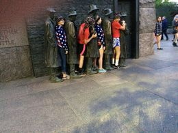Bronze statues of people in a bread line Depression era. Children in line to have their photo taken. , Michael C - June 2016