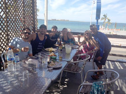 At the buffet lunch after the whale shark snorkeling, Cat - November 2014