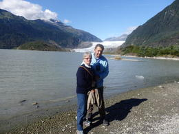 Max and Jane on the shore of the lake overlooking the glacier. , Max - August 2016