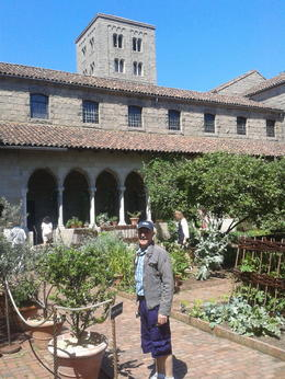 Investigating the herb garden in the Cloisters. , Elizabeth H - July 2013