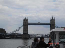 Aboard the river cruise nearing the Tower Bridge., Maureen P - April 2008