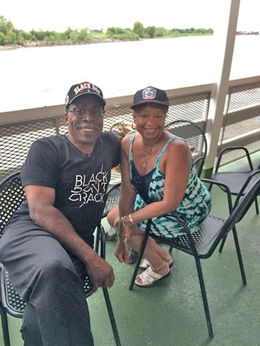 Chick Lawson Davis and Willie Davis enjoying the deck and smooth ride. , chicklaw - July 2016