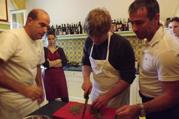 Brandon, Fabio, and Igor preparing ravioli filling , Mfair5 - March 2012
