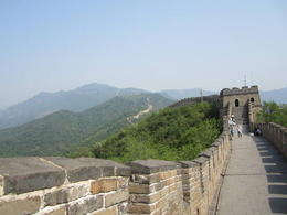 Walking along the Great Wall. It was a hot day and very beautiful., Julie - June 2012