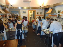Our class busy preparing dinner , Linda S - June 2014