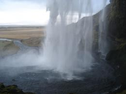 Walking behind Skogafoss. - November 2007
