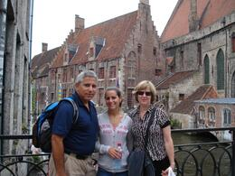 My family in Bruges as we wait to for others in our tour to arrive before beginning our boat ride., David F - July 2008