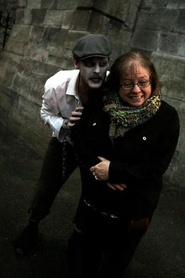 Paula Michaud just hanging around with one of the ghouls on the Dublin Gravediggers' Tour. , EuroTrip - May 2013