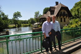 Jeff and Scott posing on the bridge after lunch. What a setting!!!!! , Scott R - June 2015