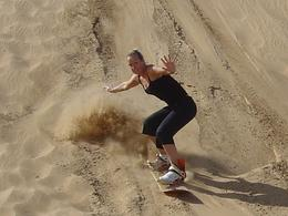 Paula is the Dancing Queen of the dunes!! (Sandboarding in Dubai)., Michele C - February 2008