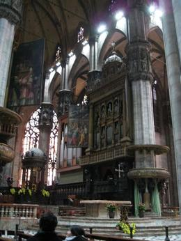 "Interior of the ""duomo"" or main cathedral in Milan -- view from off to the left of the altar, showing the larger of the two pipe organs., Bruce J - November 2008"