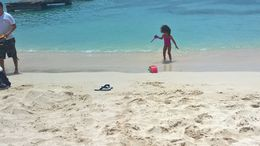 This is my granddaughter on her first trip out of the USA to Jamaica. In this picture she was busy getting acquainted with some of the locals at a local beach in Ocho Rios on day one of our stay. , mar_segree - July 2016
