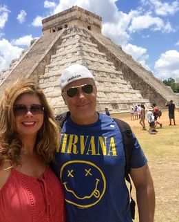Great pyramid Kukulcan with a pic of Jim and I. , Elise R - May 2016