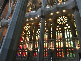 Sunlight through stained glass windows in Sagrada Familia , Mousey - November 2017