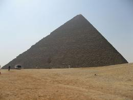 The bus and people in this picture really give a sense of the scale of the pyramids., WAYNE A R - September 2008
