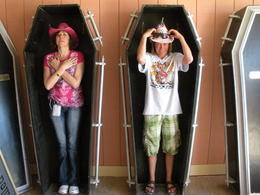 Escaping the heat and resting in some coffins, charley - June 2012
