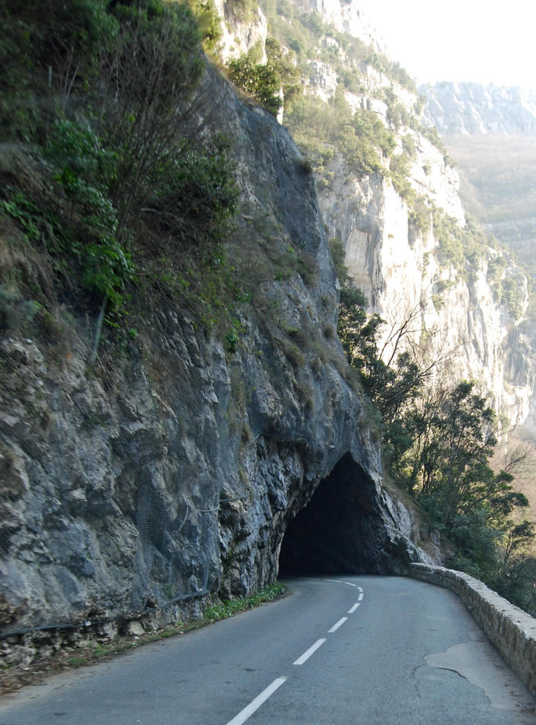 Tunnel through a mountain near Gourdon, France - March 2010 -