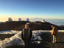 Four of the 13 telescopes on Mauna Kea with Maui's Haleakala in background. , Michael G - January 2017