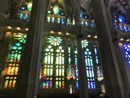 Other side looking at stained glass windows in Sagrada Familia , Mousey - November 2017