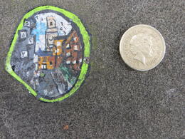 Street scene painted on gum next to British pound to compare size , Nancii S - March 2014