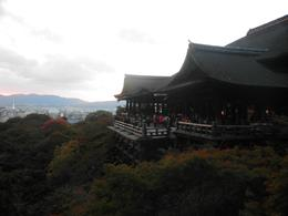 The view from the Kiyomizu Temple, you could see a view over Kyoto and even Kyoto Tower. Although the sun had start to go dow and it was a little cloudy, it was still beautiful., KELLY W - November 2010