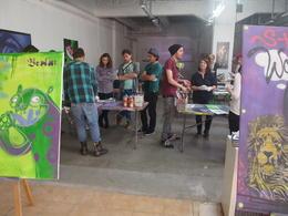 Group spray painting, Rachel - November 2013