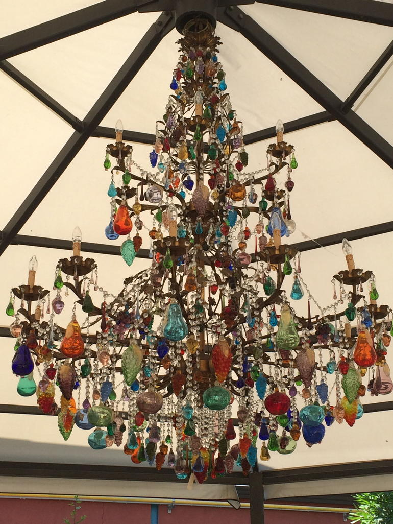 The Chandelier hanging in the garden pavilion at the Murano Glass Factory - Venice
