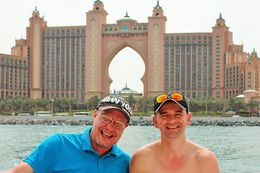 Me and my friend in front of Atlantis Hotel , Petru Rosenthorn - April 2015
