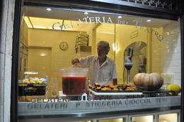 This gelato shop shows how they use fresh ingredients to make their gelato right in the store window. , Stormy B. B - November 2014