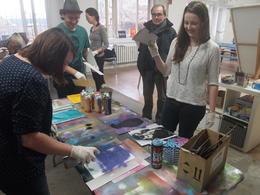 Spray painting, Rachel - November 2013