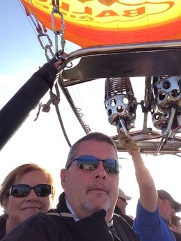 Larry and Carol S. enjoying the sights from the balloon. , James L S - April 2015