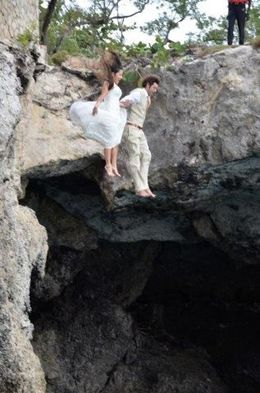 Bride and Groom diving off the cliff! , Tess P - March 2015