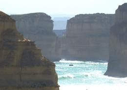 "The stacks, collectively labelled ""Twelve Apostles"" (although there are not, and never were 12 at any one time) are slowly isolated further from their cliff beginings, Susan H - November 2010"
