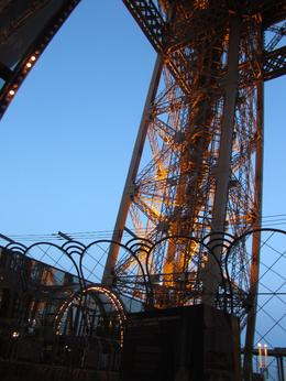 looking up at the eiffel tower from the observation deck just outside of the restaurant , Kristine M - April 2011
