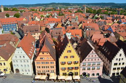 Take a brisk walk to the top of the Rathausturm Town Hall Tower for spectacular views over Rothenburg , Kimberley V - October 2015