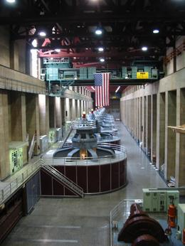 Some of the power-generating turbines inside Hoover Dam. - June 2008