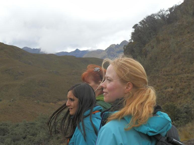 Katya, Ali, and Balen trekking around Cajas Nacional Parque.... - Ecuador