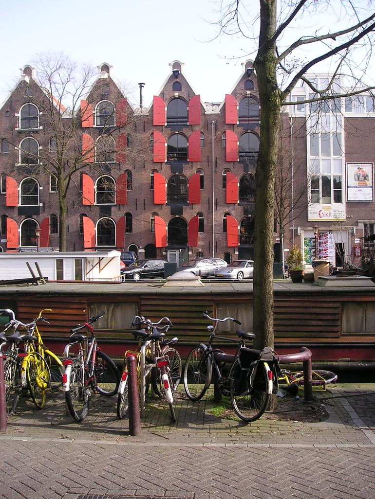 Bikes in front of a houseboat - Netherlands